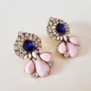 New Stud Blue Pink Pear Drop Earrings